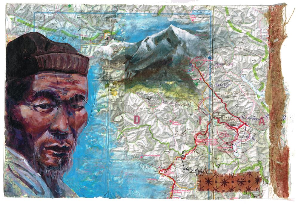 Portrait de nomade dans l'himalaya